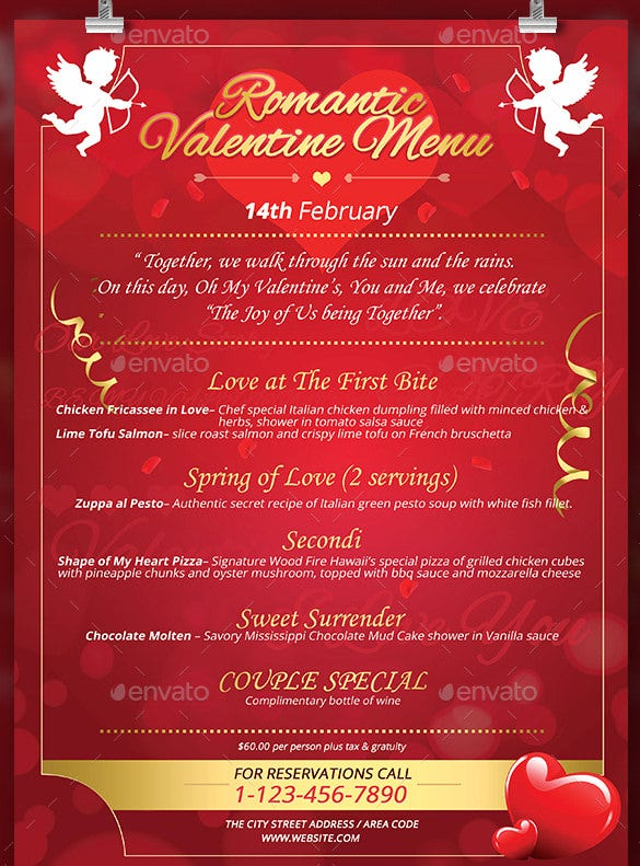 Exceptional Valentines Menu Templates Free Psd Eps Format Download