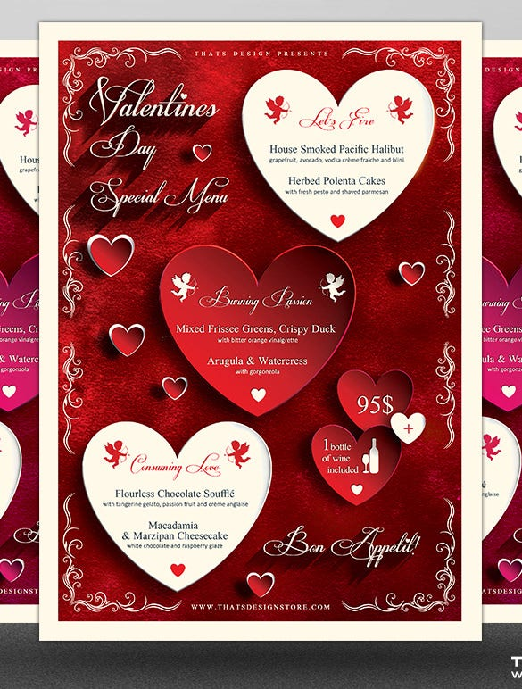valentines day menu template photoshop psd file download