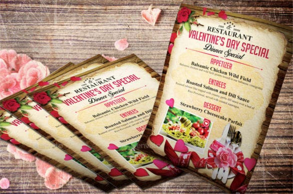 valentine menu flyer templates psd design download