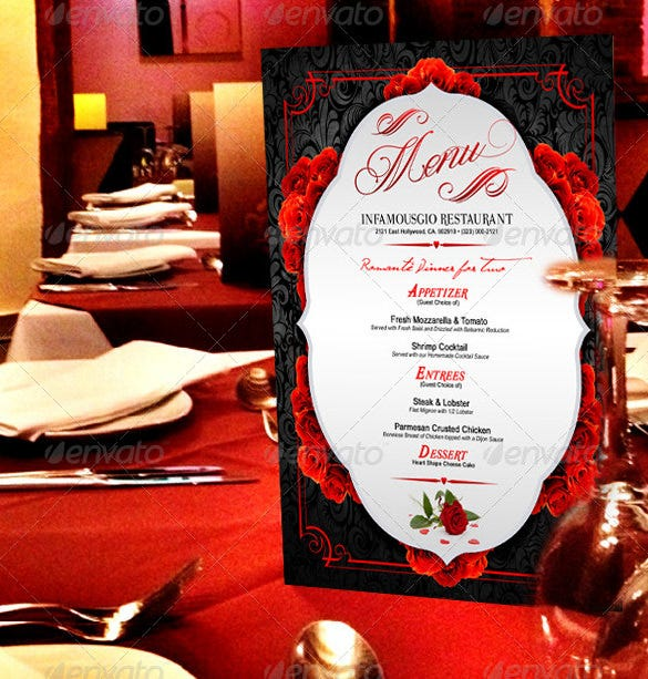 st valentines menu photoshop psd format