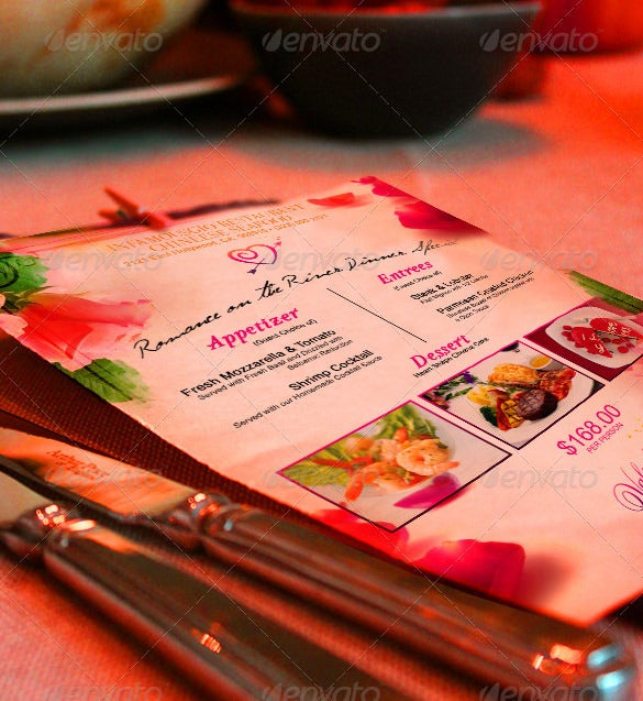 valentine's day restaurant food menu template download