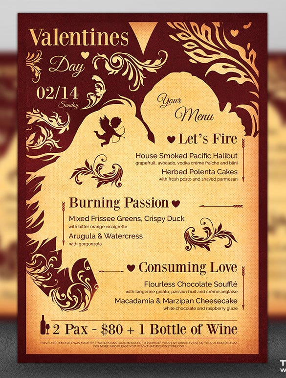 photoshop valentines day menu template in psd file