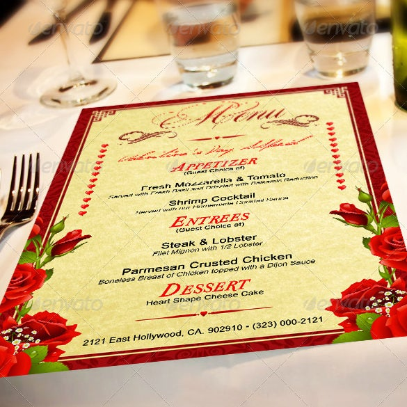 St Valentines Food Menu Template Download  Dinner Party Menu Templates Free Download