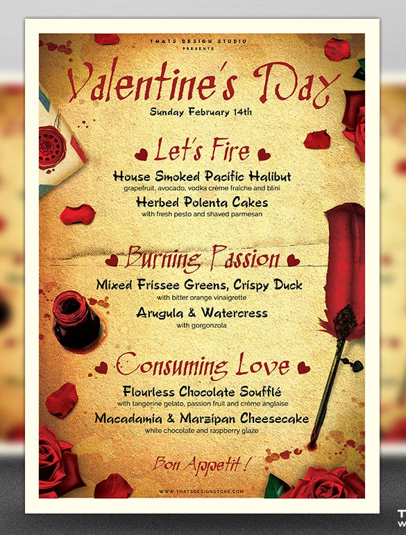 massive valentines day menu template psd download