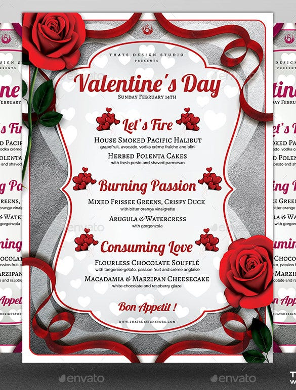 Valentines Day Menu Template Photoshop PSD Design