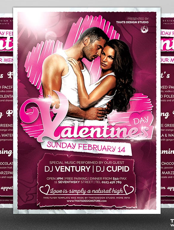 2 menu flyer templates of valentines day premium