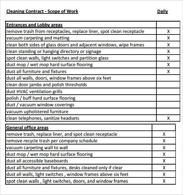 Printable Cleaning Contract Scope Of Work Template PDF