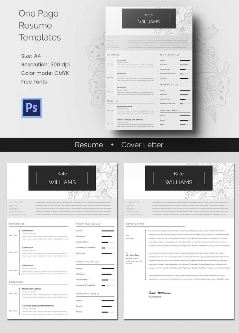 creative resume templates psd eps format one page resume cv cover letter template