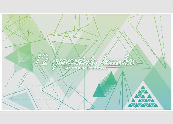 set of 12 geometric brushes