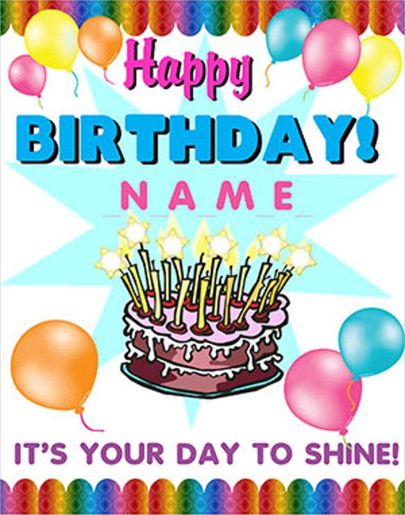vector birthday poster template