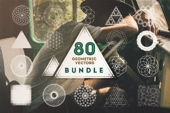 mega pack of 80 geometric brushes