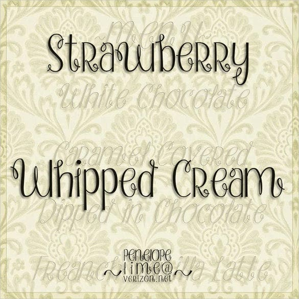 strawberry whipped cream fancy font download