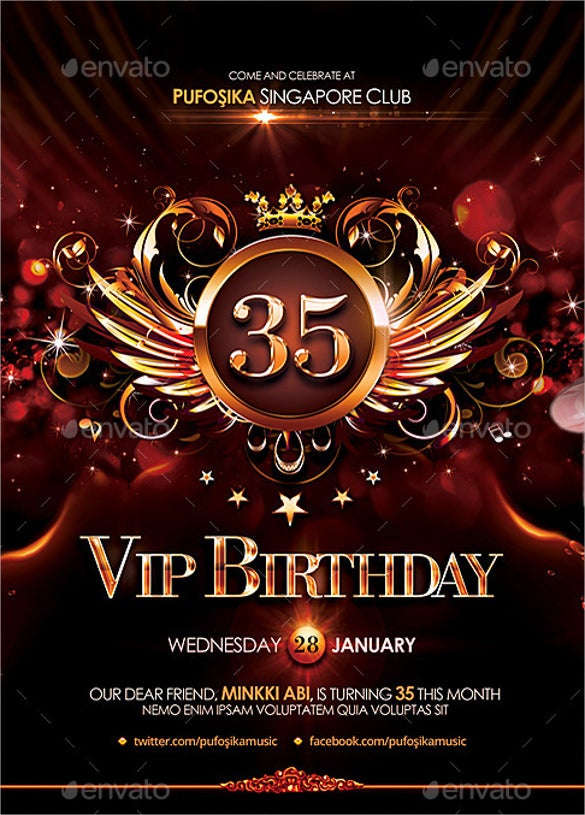 vip birthday poster template