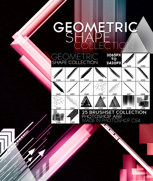 25 geometric brushes for instant download