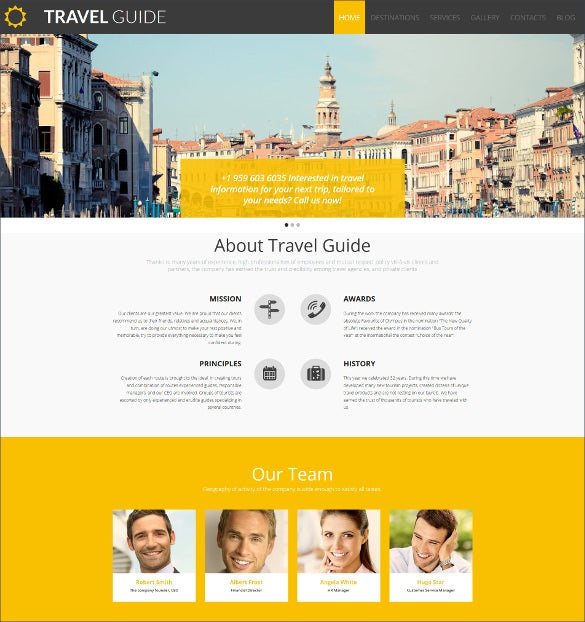 travel guide responsive moto cms 3 website template