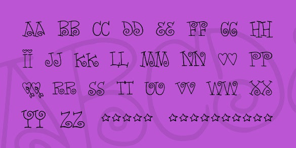 words of love cute font template download