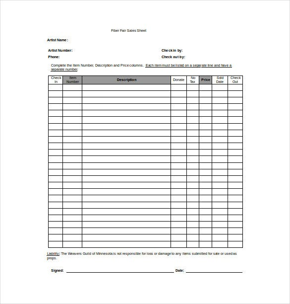 Awesome Fiber Fair Sales Sheet Word Template Free Download