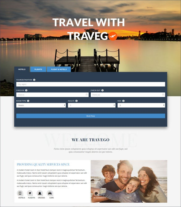 premium responsive travel website theme