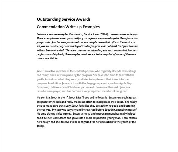 outstanding service awards commendation