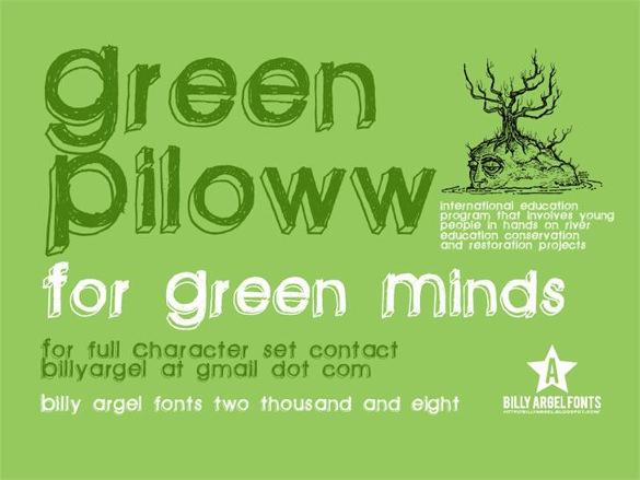 green piloww funny font template
