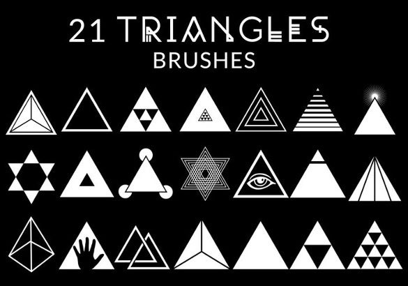 collection of 21triangle brushe set