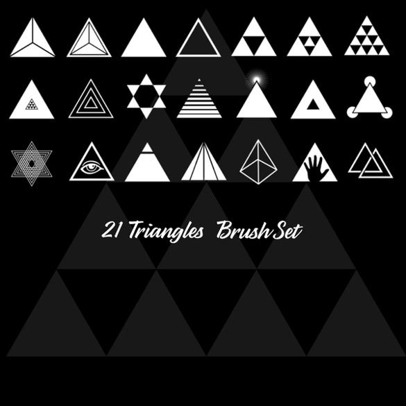 triangle brush set with 21 shapes