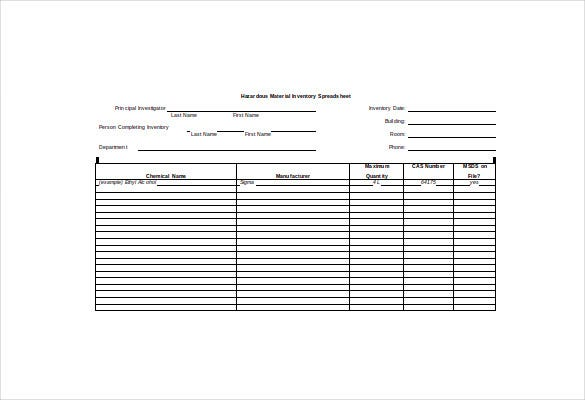 hazardous material inventory spreadsheet word free download
