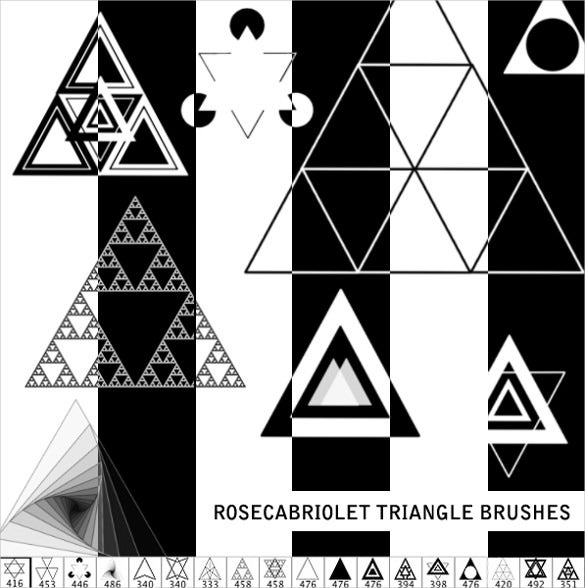 triangle brush set with collection of shapes