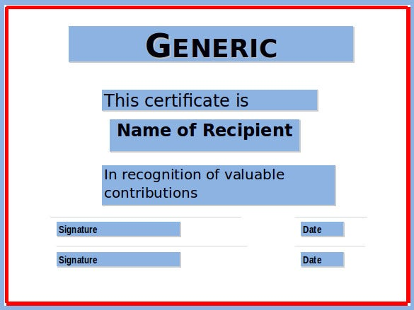 generic certificate template free download
