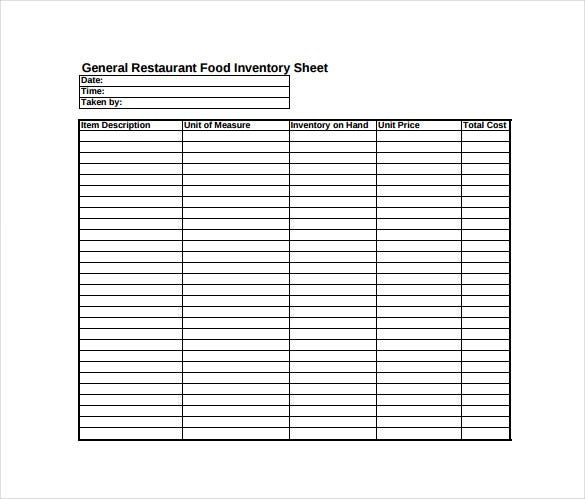 general restaurant food inventory sheet pdf free download