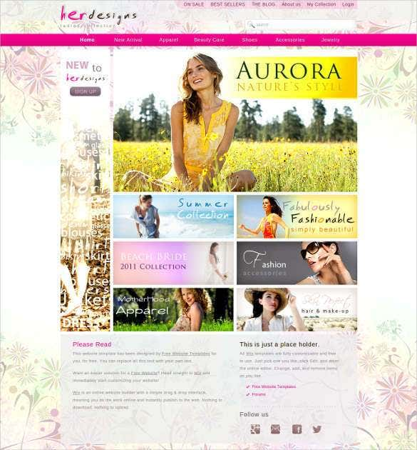 free women fashion designs php website template11