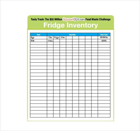 fridge inventory sheet free pdf template download