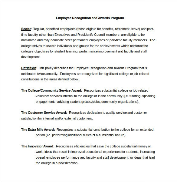 employee recognition award criteria