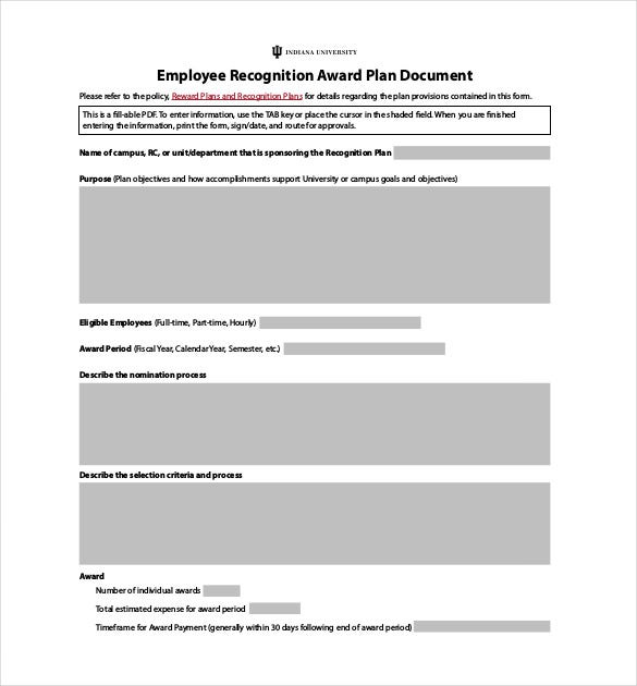 employee recognition award plan document