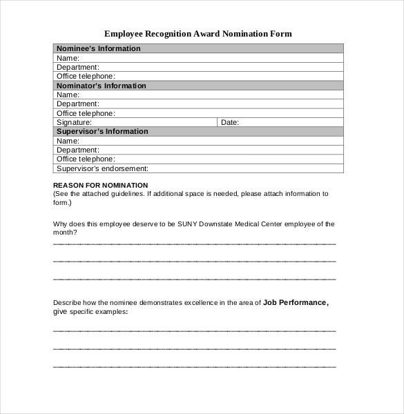 employee recognition award nomination form