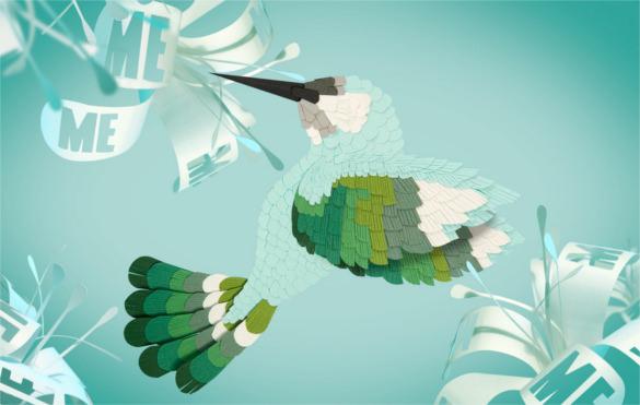 hummingbird paper art design download