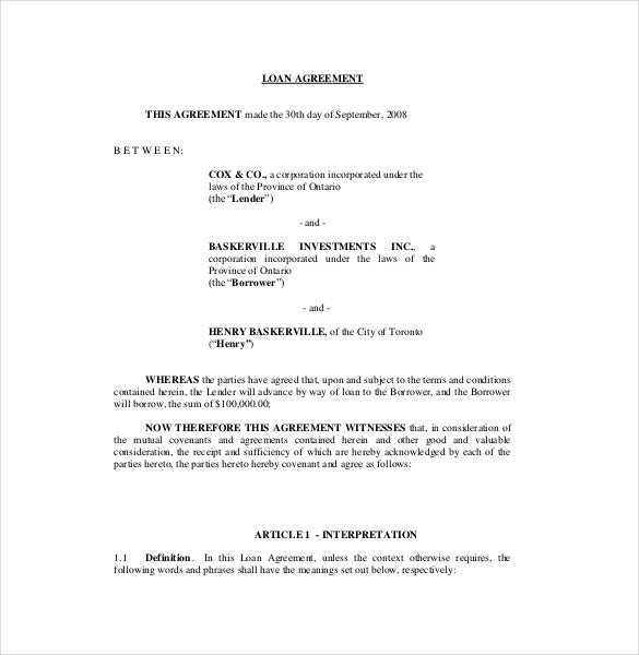 Loan Agreement Template 11 Free Word PDF Documents Download