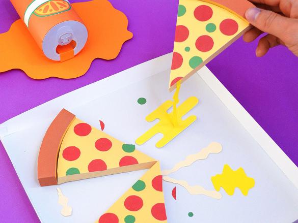 paper pizza party art design