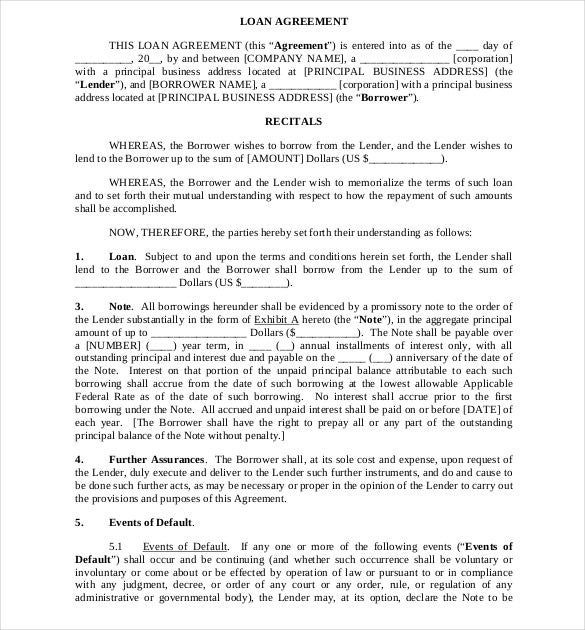 Loan Agreement Template   Free Word Pdf Documents Download