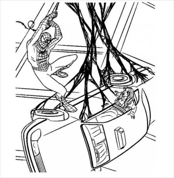 spider man rescue action coloring page pdf free download