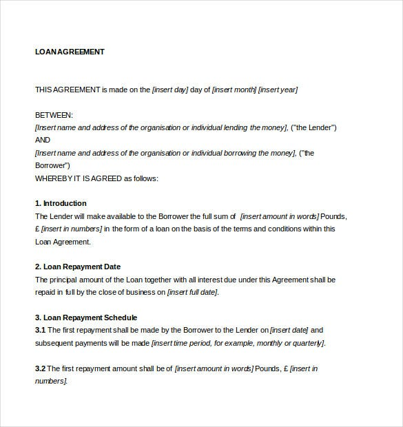 16 Loan Agreement Templates Word Pdf Free Premium
