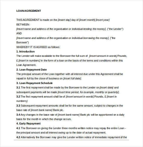 Private Loan Agreement Template Word Document Download