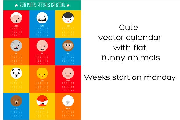 cute animals calendar template1