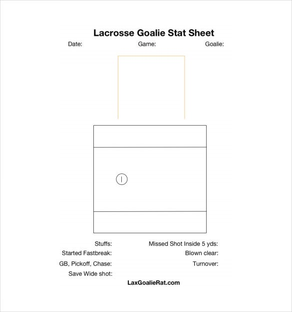 lacrosse goalie stat sheet pdf template free download