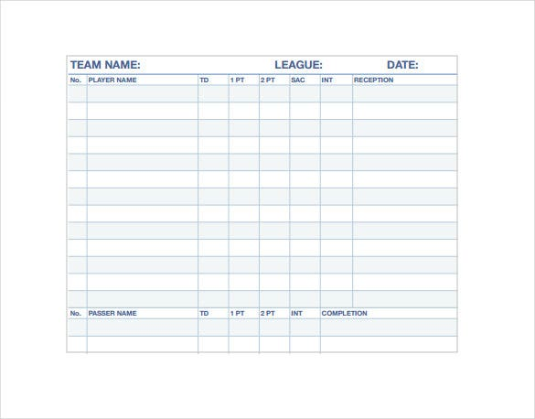 football stat sheet pdf template free download