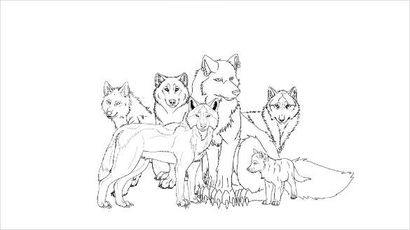 group of wolfs drawing template to print