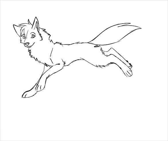 high resolution wolf drawing template