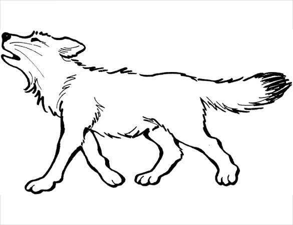 wolf drawing template for easy coloring
