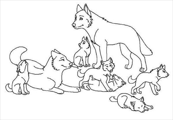 group of wolfs drawing template