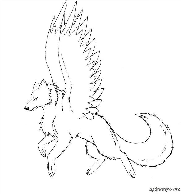 winged wolfs drawing template
